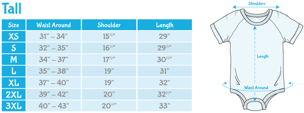Tall onesie Sizing Chart